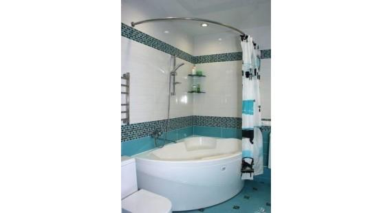 Карниз полукруглый 140х85см для ассиметричной ванны Steel photo1