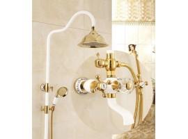 Душевая колонна со смесителем для ванны Art Design DECO 6133 Белая-золото
