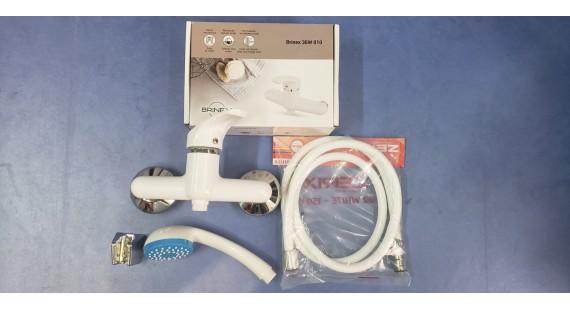 Смеситель пластиковый белый для душевой Brinex 36W 010 Комплект photo1