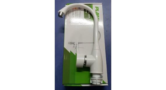 Смеситель белый пластиковый для кухни Plamix Mario photo1