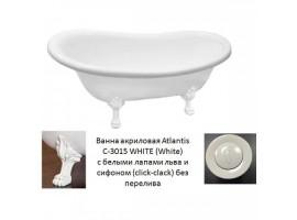 Ванна акриловая Atlantis C-3015 170x70 белая белые ножки